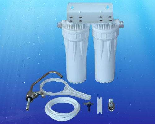 Double Under Counter Water Filter With KDF/GAC Cartridge